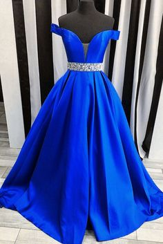 Navy blue satins off-shoulders long prom dresses,elegant formal dresses