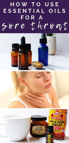 Learn how to use essential oils for a sore throat - three different ways! Simple, natural and homemade sore throat remedies that actually work. Essential Oil Beginner, Thyme Essential Oil, Essential Oil Spray, Oils For Sore Throat, Doterra Sore Throat, Essential Oils For Congestion, Sore Throat Remedies, Oil For Headache, Natural Health Remedies