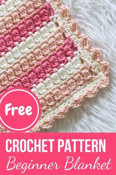 Crochet Cluster Stitch Blanket, Pink Posies Blanket Try this gorgeous crochet cluster stitch balnket for your next baby shower gift. Easy to work yet gorgeous, this will help you practice your cluster stitches. Baby Girl Crochet Blanket, Easy Crochet Blanket, Afghan Crochet Patterns, Crochet Patterns For Beginners, Crochet Basics, Crochet Baby, Crochet Blankets, Baby Blankets, Beginner Crochet