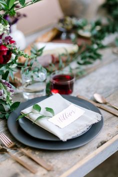 Kinfolk Inspired Organic Wedding Tablescape with Modern Copper Flatware and Black Ceramic Plates Surrounded by Greenery as Featured on Ruffled Blog via Birch & Brass Vintage Rentals for Weddings and Special Events in Austin, Texas. Photography by @juliewilhite.