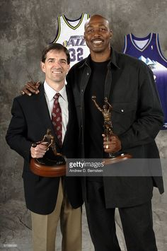 288c9777 Retired power forward Karl Malone poses with John Stockton after the  unveiling his statue commissioned by