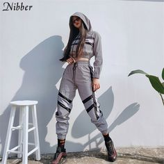 Two Pieces Sets Silver Pactwork Ctop Top Sweatshirts Elastic Drawstring Pants Tracksuits Womens Tracksuit Set, Sports Hoodies, 2 Piece Outfits, Drawstring Pants, Streetwear Fashion, Street Wear, Street Style, Fashion Outfits, Suit Fashion
