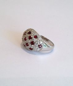 Vintage Sterling Silver Ruby and Diamond Pave Estate Jewelry Ring Red Stone Ring