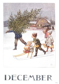 Månadsbild med klassiskt Elsa Beskow motiv December by ginger and blonde Elsa Beskow, Christmas Scenes, Christmas Pictures, Christmas Art, Winter Christmas, Xmas, Winter Holidays, Illustration Noel, Christmas Illustration