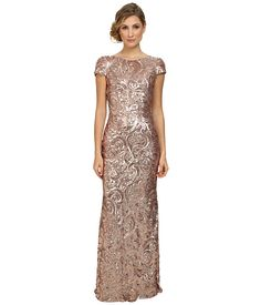 Badgley Mischka Cap Sleeve Textured Sequin Cowl Back Gown Blush - Zappos.com Free Shipping BOTH Ways