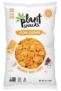 Cheddar Chips by Plant Snacks Chip Packaging, Packaging Snack, Food Packaging Design, Pouch Packaging, Packaging Supplies, Coffee Packaging, Bottle Packaging, Clean Eating Snacks, Healthy Snacks
