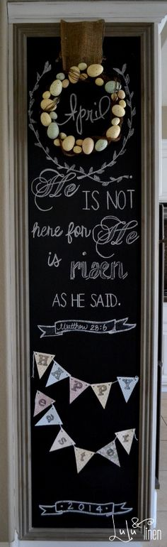 april chalkboard wall. inspiration for an easter chalkboard and free printables.