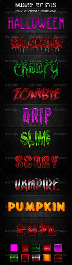 Halloween Text Styles Halloween Text Styles contains 10 photoshop text effect. Link to fonts are included  All fonts are free  10 ASL 1 Layered PSD Info Doc. http://startupstacks.com/add-ons/halloween-text-styles.html - free download