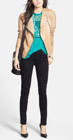 But with a different shirt...The everyday look for fall, black Hudson skinny jeans and moto jacket.