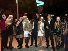 Group Purge Costumes #purge #costumes #halloween #purgecostumes Trio Costumes, Badass Halloween Costumes, Halloween Party Themes, Halloween Looks, Halloween Outfits, Halloween Makeup, Halloween Ideas, Costume Ideas, Halloween 2018