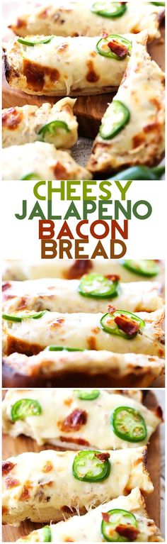 Cheesy Jalapeno Bacon Bread - This recipe is cheesy, flavorful and has a delicious kick of heat with a cream cheese spread to cool it down. Latin Food Recipe Share and enjoy! Jalapeno Bacon, Jalapeno Recipes, Stuffed Jalapenos With Bacon, Bacon Recipes, Appetizer Recipes, Cooking Recipes, Stuffed Peppers, Meat Appetizers, Salami Appetizer