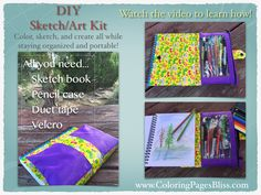This DIY sketch book kit or art book kit is perfect for doing art on the go. It is easy to make and will keep your art supplies organized. All you need is duct tape, a sketch book, a pencil case, and some Velcro! Come watch this fun tutorial to learn how to make your own art kit. Perfect for coloring and sketching. All artists of every age will love it.
