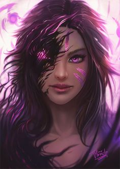 Kai'sa Fan Art League of Legends Lol League Of Legends, Akali League Of Legends, League Of Legends Characters, Anime Fantasy, Dark Fantasy Art, Fantasy Artwork, Fantasy Women, Fantasy Girl, Fantasy Character Design