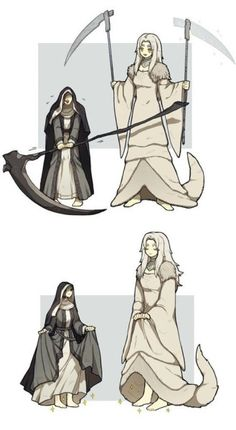 Some similarities, and some differences. Two scythey maidens of the Painting! Not my art. Arte Dark Souls, Dark Souls 2, Dark Souls Memes, Fantasy Character Design, Character Art, Soul Saga, Bloodborne Art, Mythical Creatures, Dark Fantasy