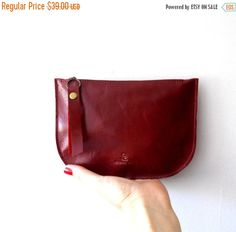 ON SALE Red leather zipper purse Makeup Bag  leather by Smadars