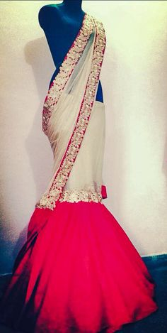 White & Red Fishtail #Saree By Sum Sum & Suman Bajaj.