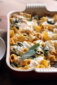 Cheesy pumpkin baked ziti filled with hints of sage
