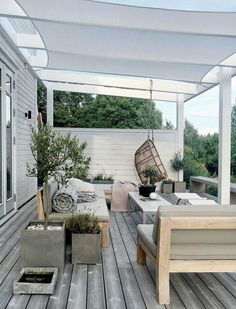 Pergola Attached To House Decks Home - Pergola Terrasse Suspendue - - Pergola With Roof Ideas - Contemporary Pergola DIY - Pergola De Madera Balcon Backyard Seating, Backyard Patio Designs, Pergola Designs, Patio Ideas, Backyard Ideas, Outdoor Seating, Backyard Landscaping, Cozy Backyard, Porch Ideas