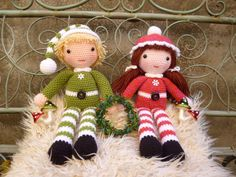 Beau and Belle Christmas Winter Dolls Amigurumi by mojimojidesign ♡