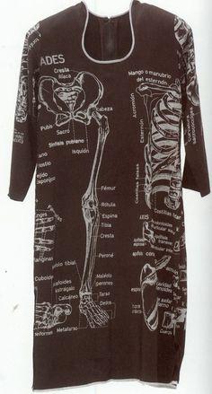 Kiki Smith ~ Untitled (1985-86) screenprinted rayon dress   anatomy   MoMA exhibit 2003