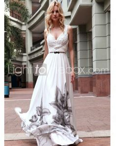 V-neck Floor-length Chiffon Military Ball Dresses With Criss-Cross