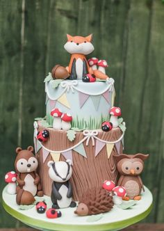 Baby shower ideas for girls gifts twin 19 trendy ideas Baby Cakes, Baby Shower Cakes, Woodland Cake, Woodland Party, Cupcakes Decorados, Animal Cakes, Fairy Birthday, Birthday Cake, Forest Cake