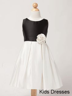 A-Line Baby Scoop Sleeveless Black And White Satin Ruffles Flower Girl Dress   $30.00 USD