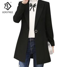 Korean Style OL Autumn Spring One Buttons Blazer High Quality Notched Collar Long Solid Color Jacket Open Stitch Outwear C81114L