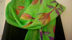 Chartreuse Silk Scarf. Lilies and Butterfly Silk by SilkLetters