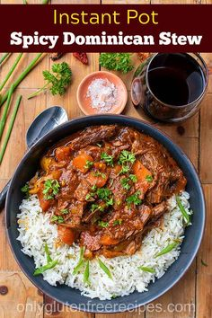 This Instant Pot Spicy Dominican Beef Stew is oozing with flavour, the meat you can shred with a fork, and the veggies are cooked to perfection. Stew Meat Recipes, Meat Recipes For Dinner, Beef Stew Meat, Spicy Beef Stew, Spicy Recipes, Cooker Recipes, Delicious Recipes, Easy Recipes, Chicken Recipes