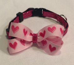 Sparkling Pink Hearts Cat Collar by JustImagine1, $14.50