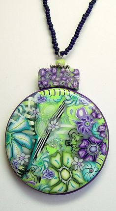 Millefiori Polymer Clay Pendant, via Flickr. made using my own flower canes