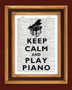 Keep calm Print, Keep calm and play piano Print 2, Dictionary art prints Book page Keep calm art  decorative wall art. $9.50, via Etsy.
