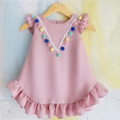 Check out my new Pretty Ruffled Short-sleeve Pompon Decor Dress for Baby Girl, snagged at a crazy discounted price with the PatPat app. Baby Girl Fashion, Toddler Fashion, Kids Fashion, Cheap Fashion, Fashion Clothes, Baby Dress Patterns, Baby Clothes Patterns, Family Outfits, Kids Outfits