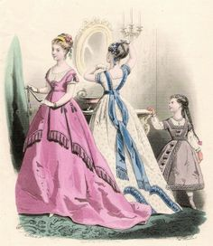 French antique fashion print by Preval