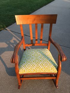 When I saw this chair at an auction, I had not planned on buying it. It was solid but kind of small. When they got to this piece, they couldn't get a bid. I th