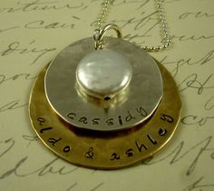 Hand stamped personalized necklace with kids names