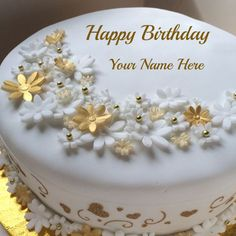Golden Birthday Celebration Fruit Cake With Your Name.Name Birthday Fruit Cake.Delicious Cake With Name.Edit Cake With Name.MyNamePix HBD Cake Profile Picture