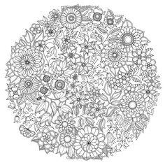 Mandala d'adulte à colorier aux motifs floraux : tiré des créations de Johanna Basford dans 11 coloriages de mandalas pour adultes à imprimer pour se détendre