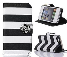 iPhone 5S Case,iPhone SE Case, Welity Cute Crystal Camellias Black Color Stripes Pu Leather Magnetic with wallet Case for Apple iPhone 5S/SE/5G. Compatibility: only for Apple iPhone 5/SE/5S - Verizon, AT&T, T-Mobile, Sprint. Not for other devices, compact, elegant, stylish pattern design. Ultra Slim folio type case to minimize bulk and weight. Stand Feature: Perfect for video chatting and watching movie.Can be converted easily into a stand case for video watching and messaging. Perfect…
