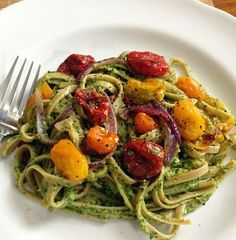 Full flavored Wheat Fettucine with Kale Pesto and Oven Roasted Tomatoes