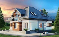 projekt Alicja N 2G+ Modern Architecture House, Architectural Design House Plans, Home Building Design, Building A House, House Outside Design, House Design, Gable House, Model House Plan, Cottage Exterior