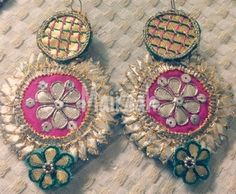 Check out this post - Our latest collection of handcrafted gota earrings Can be… Gota Patti Jewellery, Handmade Rakhi Designs, Flower Ornaments, Unicorn Crafts, Chunky Jewelry, Jewelry Making Tutorials, Fabric Jewelry, Making Ideas, Bridal Jewelry