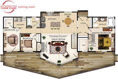 Banff III Floor Plan, make it two master suites instead of three bedrooms.