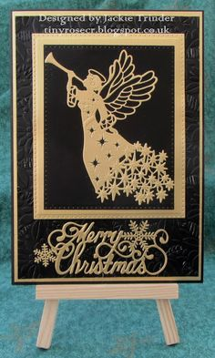 Tinyrose's Craft Room: A Quick Christmas Card with an Angel made with Sue Wilson designed dies and embossing folder. More
