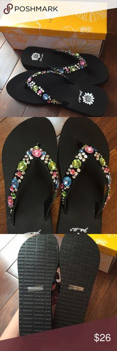 YellowBox Paulina Flip Flops YellowBox Paulina flip flops size 9. Light pink, blue, green rhinestones and silver sequins. Gorgeous colors and dazzling sparkle. 1 1/4 inch heel Yellow Box Shoes Sandals