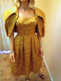 486caf357707 50s Couture Gold Lame Dress   Jacket. Silk Brocade Old Hollywood Dress.  Edward Abbott Cocktail Party Dress. Mad Men Wedding Guest Dress XXS
