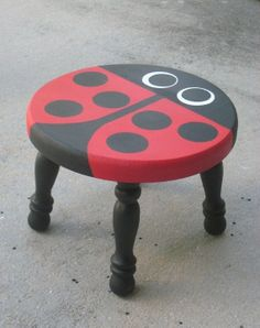 Items similar to Handpainted Ladybug Stool on Etsy - Ideen finanzieren Funky Painted Furniture, Paint Furniture, Repurposed Furniture, Furniture Projects, Kids Furniture, Furniture Makeover, Wood Projects, Furniture Design, Ladybug Crafts