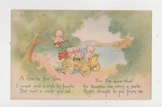 "Original KEWPIE Postcard,Signed Rose O'Neill,""A Smile for You..."",c.1920s"