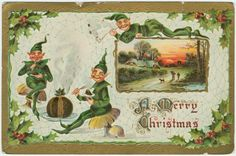VIntage christmas greeting card with elves - christmas cards merry xmas family party holidays cyo diy greeting card Antique Christmas, Vintage Christmas Cards, Retro Christmas, Christmas Greeting Cards, Christmas Elf, Christmas Greetings, Vintage Cards, Vintage Postcards, Holiday Postcards